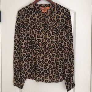 Tory Burch 100% Silk Leopard Print Blouse